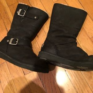 Black Ugg boots-Leather
